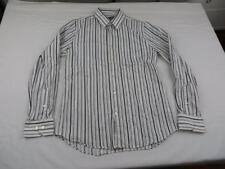 Used Stains Express Mens White & Black Office Stylish Dress Shirt Sz M Fitted