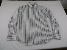 Express Mens White & Black Stripe Dress Shirt Sz Medium Fitted Job Interview L/S