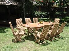 """11-Piece Outdoor Teak Dining Set: 94"""" Oval Table, 10 Reclining Arm Chairs Wraw"""