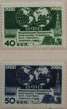 Russia Unione Sovietica 1950 1459-60 1447-48 meeting telegrapf telephone RADIO MNH