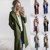 Women's Winter Warm Long Wool Coat Lapel Parka Jacket Cardigan Overcoat Outwear