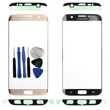 Per Samsung Galaxy S7 bordo G935F ANTERIORE ESTERNO SCHERMO IN VETRO ORO + Adesivo Tools