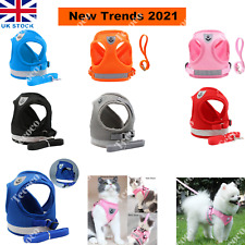 More details for new small pet dog puppy cat harness breathable reflective soft mesh vest lead