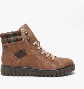 Rieker Y3442-23 Ladies Womens Winter Warm Wedge Heel Zip Up Hiker Boots Brown