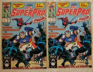 NFL Super Pro #1 Oct 91 Marvel Comics Guest Starring Spider-Man Vintage x2
