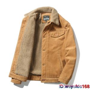 Men's Retro Corduroy Sherpa Trrucker Jacket Fur Fleece Lined Classic Coat