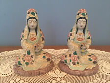 Pair of Antique Chinese Guanyin Famile Figures