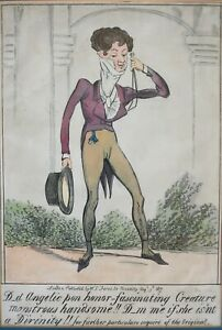 George Cruikshank (British 1792-1878) Caricature hand colored lithograph