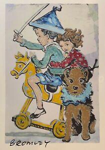 "DAVID BROMLEY Children Series ""Rocking Horse"" Signed, Mixed Media 86cm x 57cm"