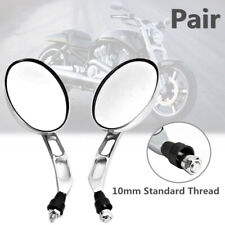 Universal CNC Aluminum Oval Chrome 10mm Motorcycle Bikes Rear View Side Mirrors