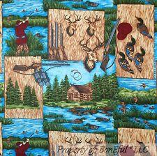 BonEful Fabric FQ Cotton Quilt Log Cabin Camp Lake Water Fish Duck Deer VTG Hunt