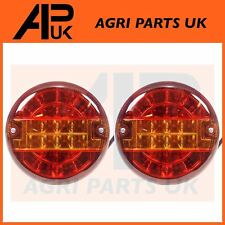 2X Slim Thin LED Rear Round Hamburger Stop Tail Lamp Light Tractor Trailer Lorry
