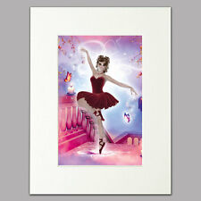 "Red Ballerina Print for women & girls pink/purple Mounted Wall Art A4 12"" x 16"""