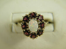 RING:   SIZE 7,  NATURAL RAINBOW OPAL OVAL RHODOLITE GARNET 925 STERLING SILVER