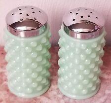 Salt & Pepper Shaker Set Hobnail - Jade Jadite Jadeite Green Glass - Mosser USA