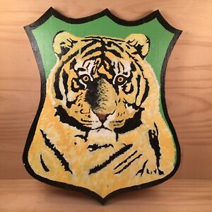 """MIGHTY TIGER """"Green Yellow"""" Beautiful Decorative Painting Wooden Plaque Wall Art"""