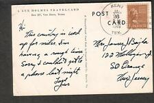 1949 Ken Holmes post card Too Tired Busy Kent TX to So Orange NJ/ 1 1/2 ct Prexy