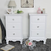 Pair of white 3 drawer bedside chest of drawers vintage French bedroom furniture