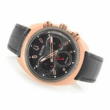 NEW Bulova Curv Quartz Chronograph Leather Strap Watch 98A156