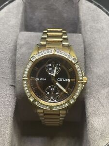 Citizen Eco-Drive FD3003-58E Drive Crystal Accent Rose Gold Ladies Watch #C88