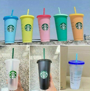 AU Starbucks Logo Reusable Plastic Cold Cup with Straw, 24 fl oz (BRAND NEW)