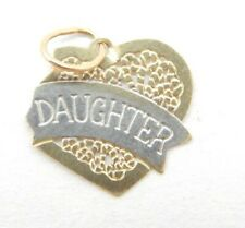 14k Yellow & White Gold Daughter Heart Charm Pendant