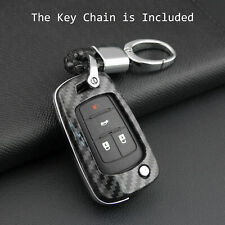 Hard Carbon Fiber Flip Key Fob Case Cover Fit For Chevrolet Camaro Cruze Buick