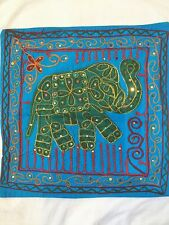 "INDIAN ELEPHANT SEQUIN HAND EMBROIDERED TURQUOISE CUSHION COVER 17"" X 17"" 1 ONLY"