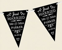 PERSONALISED CHALKBOARD BUNTING- JUST MARRIED D1 BANNER DECORATION WEDDING BLACK