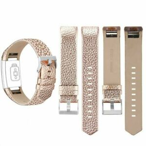 TOP WatchBand Genuine Leather Replacement Wristband Rose Gold For Fitbit Charge2