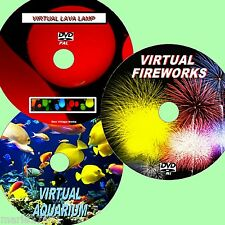 VIRTUAL FISH TANK, FIREWORKS & LAVA LAMP 3 SUPERB DVD VIDEOS FOR PLASMA LED NEW