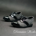 1/4MSD 1/3SD BJD Suit Shoes Pointed Toe Spliced Leather Shoes Black+Gray Male