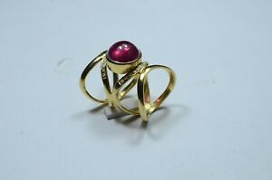 Gold Plated Rubellite Evil Eye Infinity Statement Ring with Diamond Jewelry Gift