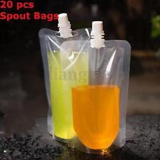 AU 20x 250ML 8Oz Plastic Alcohol Spout Flask Bladder Bags Clear Leak Proof + Cap