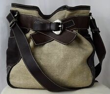 FRANCESCO BIASIA Lrge Brown Leather & Tweed Belted Shopper Satchel Crossbody Bag