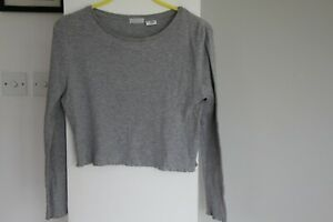 Women's Urban Outfitters Cooperative Grey Crop Long Sleeve Top - Size Medium