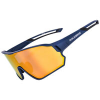 RockBros Polarized Cycling Glasses Full Frame Sports Sunglasses Goggles Blue