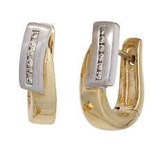 Creolen bicolor 12 Diamanten Brillanten 585 Gelbgold Weißgold mattiert 42112