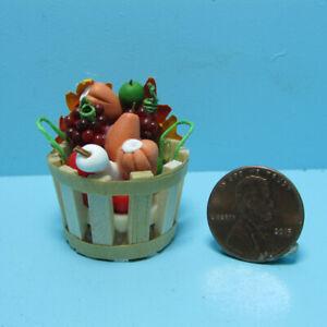 Dollhouse Miniature Fall Market Fruit and Vegetable in Wood Bushel Basket B0321