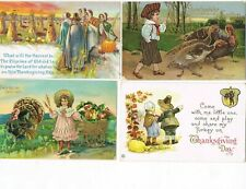 LOT of  4 ANTIQUE EARLY 1900s HOLIDAY Postcards   * THANKSGIVING *   #1017C