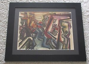 KELLER 1953 ABSTRACT PAINTING CUBIST GEOMETRIC MID CENTURY MODERN VINTAGE POP