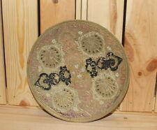 Vintage ornate floral brass bowl platter
