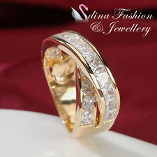 18K Yellow Plated Gold Simulated Diamonds Fashion Large Crossover Band Ring