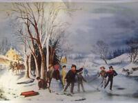 Vintage Art Children Playing Winter Fun