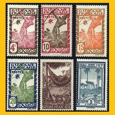 LOT 6 TIMBRES DE GUYANE FRANCAISE - ANNEES 1929 A 1947 NEUFS **