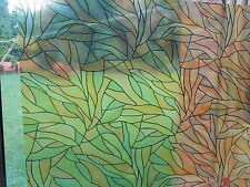 67.5cmWide GREEN ORANGE STAINED GLASS STICKY BACK VINYL FILM WINDOW STATIC CLING