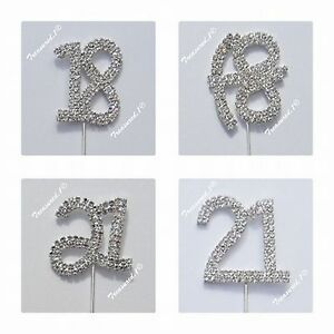 Cake Pick Silver Topper Number Clear Rhinestone Diamante GEMS - 18th 21st Italic