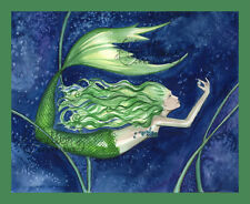 PEARL FINDER Mermaid Print from Original Painting By Camille Grimshaw fairy sea