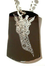 Giraffe Animal Celtic Tribal Tattoo Head Bust Dog Tag Metal Chain Necklace New