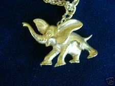 Collectible Gold Metal Elephant Necklace - Signed Art